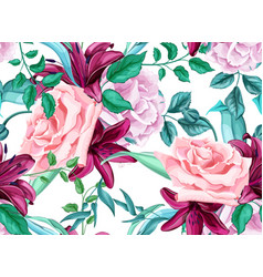 Rose lily bouquet seamless pattern vector