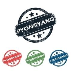 Round Pyongyang city stamp set vector image
