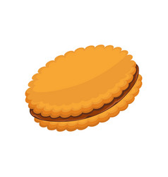 sandwich biscuit filled with cocoa cream isolated vector image