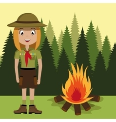 Scout character with campfire isolated icon vector