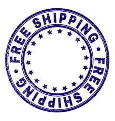 Scratched textured free shipping round stamp seal vector