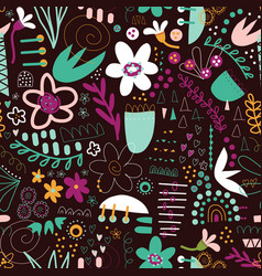 Seamless doodle background abstract shapes vector
