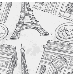 seamless texture with eiffel tower vector image