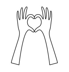 Silhouette hands forming heart icon flat vector