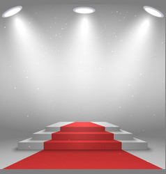 Stage for awards ceremony white podium with red vector