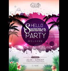 summer disco party poster design hello summer vector image