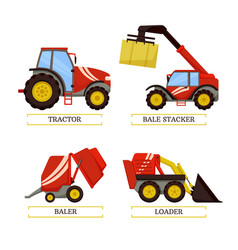 Tractor and baler machines vector