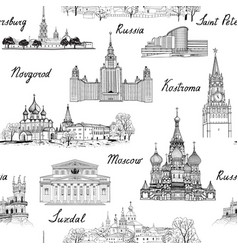 Travel seamless pattern russia background famous vector