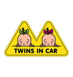 Twins in car sticker fases of baby girls and logo vector