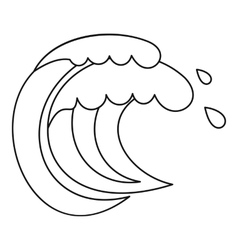 Wave of sea tide icon outline style vector