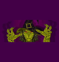 Witch costume halloween mask and hands vector