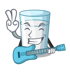 With guitar fresh milk glass in cartoon table vector