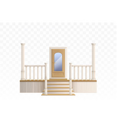 Wooden front door and porch staircase vector
