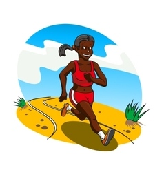 Young african woman cross country runner vector