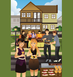 young people having garden party vector image