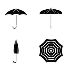 black umbrella icon set vector image