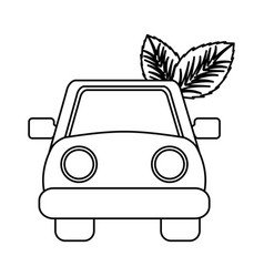 car with leafs icon vector image