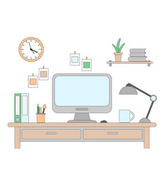 desk with a computer vector image