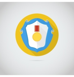 Flat icon with gold medal vector image