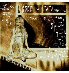 piano and woman vector image