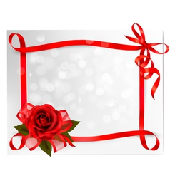 Valentines day background Red rose with gift red vector image vector image