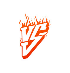 versus with fire frames and vs letters flaming vs vector image vector image