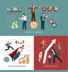 winner businessman flat icons banner square vector image vector image