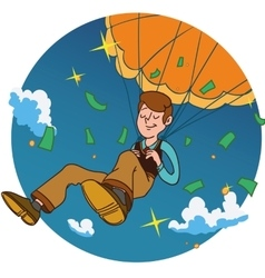 Smiling man fall on a golden parachute in circle vector image vector image
