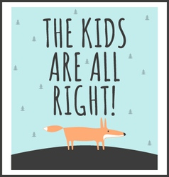 Stylish childrens poster with quote vector image vector image