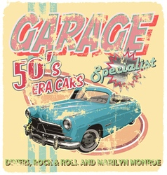 garage 50 era cars vector image vector image