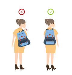 girl backpack correct posture position good for vector image vector image