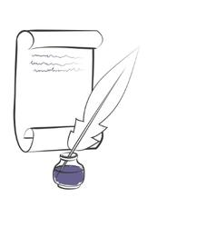 inkwell pen paper vector image