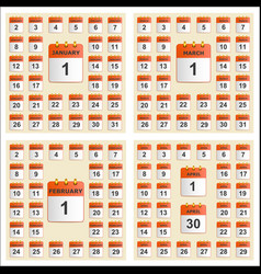universal set of wall calendar from january to vector image