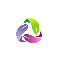 circle colorful leaf organic logo vector image vector image