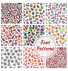Font patterns cartoon alphabet letters numbers vector image