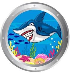 Funny shark cartoon vector image vector image