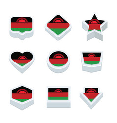 Malawi flags icons and button set nine styles vector