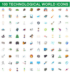 100 technological world icons set cartoon style vector image