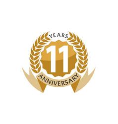 11 years ribbon anniversary vector