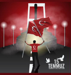 15 july day turkey translation of title in vector image