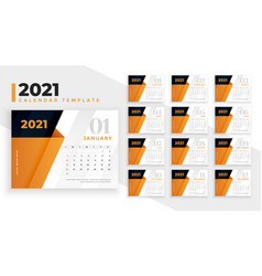 2021 calendar design template with orange vector