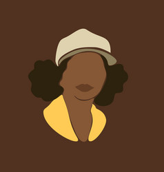abstract african woman portrait in cap afro black vector image