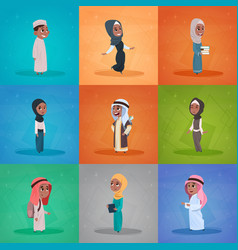arab children girls and boys set small cartoon vector image