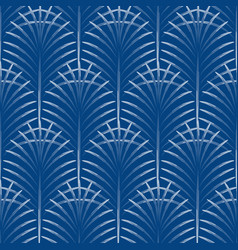 Art deco palm leaves geometry arch blue seamless vector