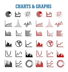 Black and red charts or graphs icons vector
