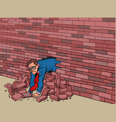businessman broke through wall vector image