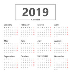 calendar 2019 simple style week starts monday vector image