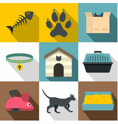 Cat things icon set flat style vector