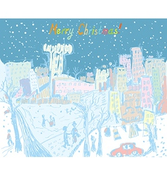 Christmas town greting card vector image