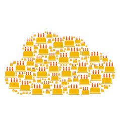 Cloud shape of birthday cake icons vector